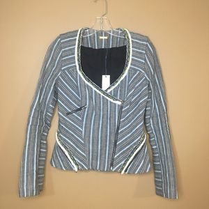 Rebecca Minkoff Tweed Fitted Jacket Gray Stripes 4
